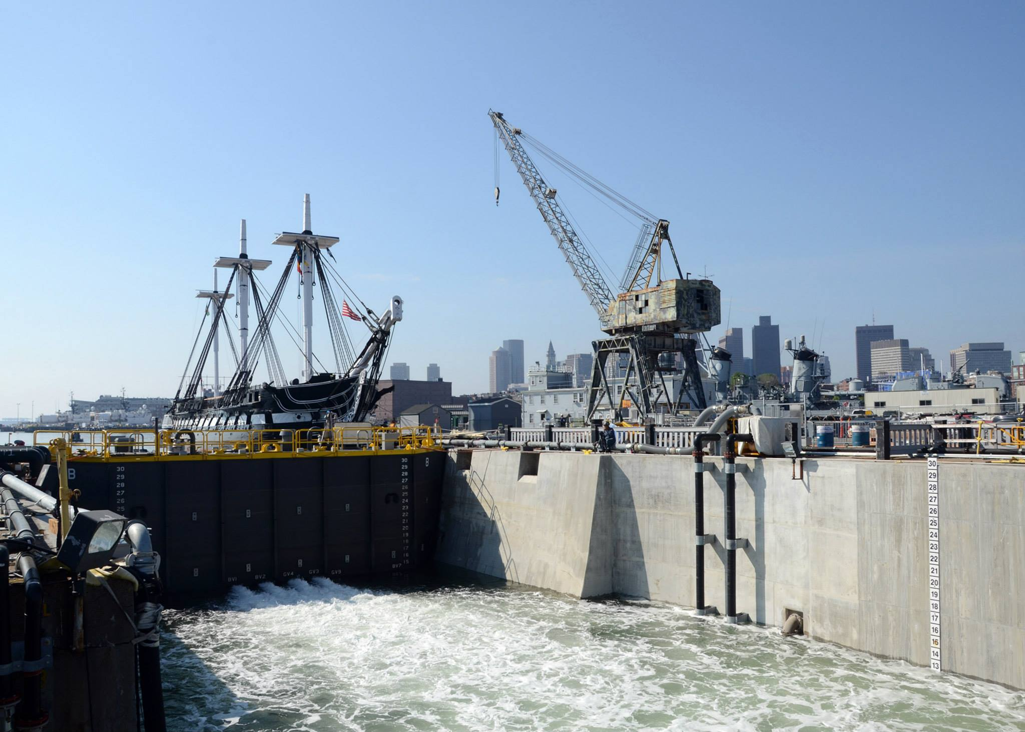 Dry Dock 1 is flooded on May 17, 2015. [Courtesy U.S. Navy. Photo by Mass Communication Specialist 2nd Class Peter Melkus]