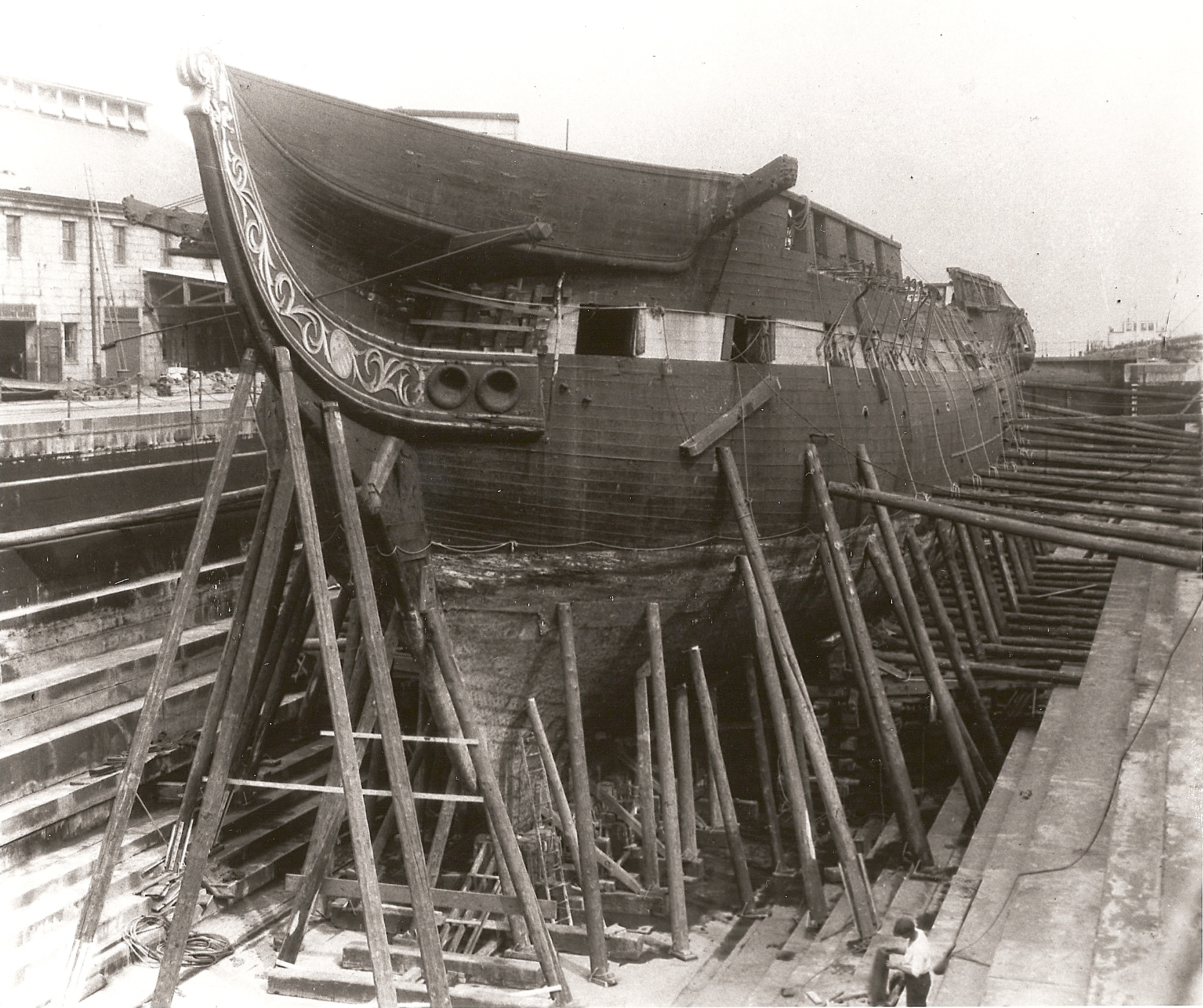 "June 1927, USS Constitution in Dry Dock 1, Charlestown Navy Yard, at the beginning of a three-year, nearly $1 million restoration that ""renewed"" 85 percent of the ship [Courtesy U.S. Navy]"