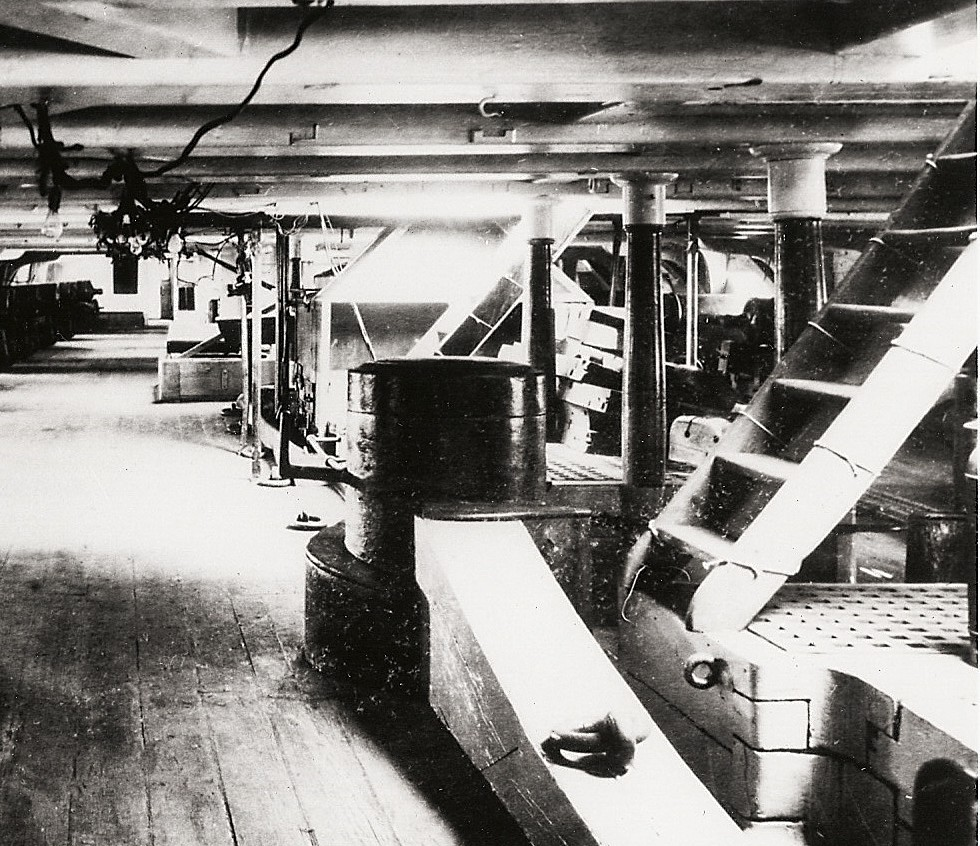View of Constitution's galley stove on the gun dick after the ship's 1906-1907 restoration. [Courtesy MIT]
