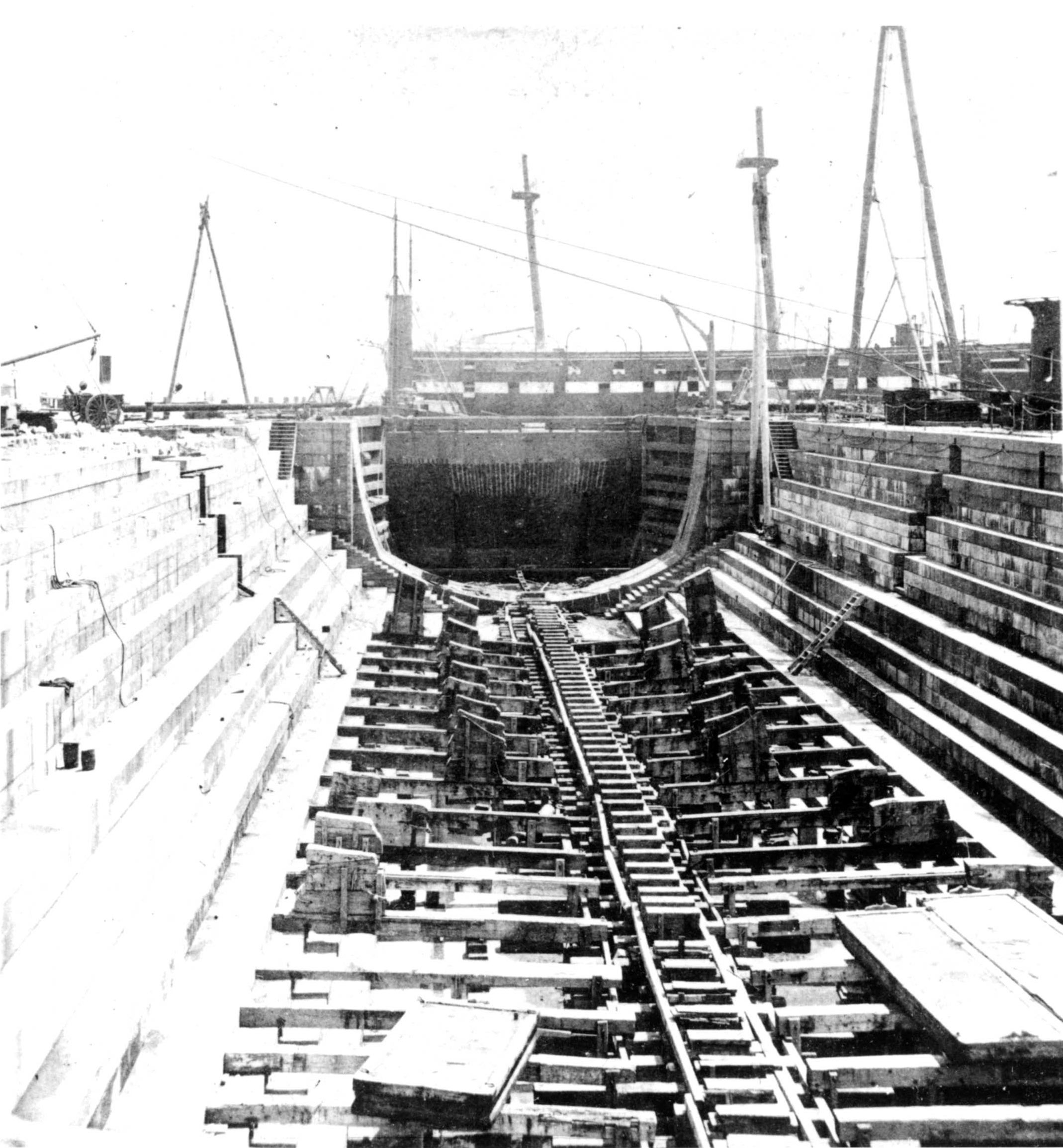 Dry Dock 1 with 1833 caisson in place, c.1870s. [Courtesy Naval History & Heritage Command Detachment Boston]