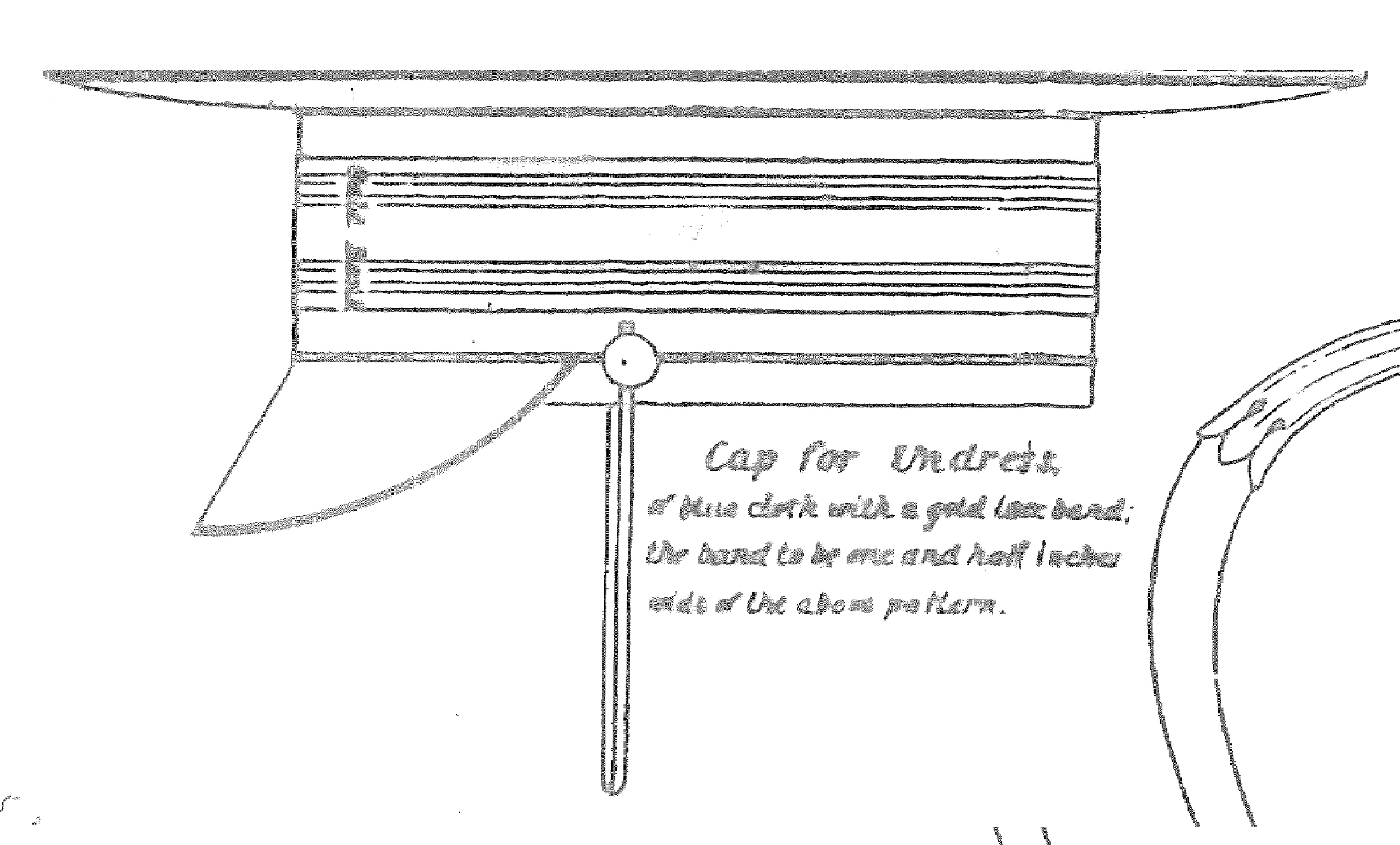 "A detail from the pattern plate of the 1841 US Navy uniform regulations showing the ""cap for undress."""