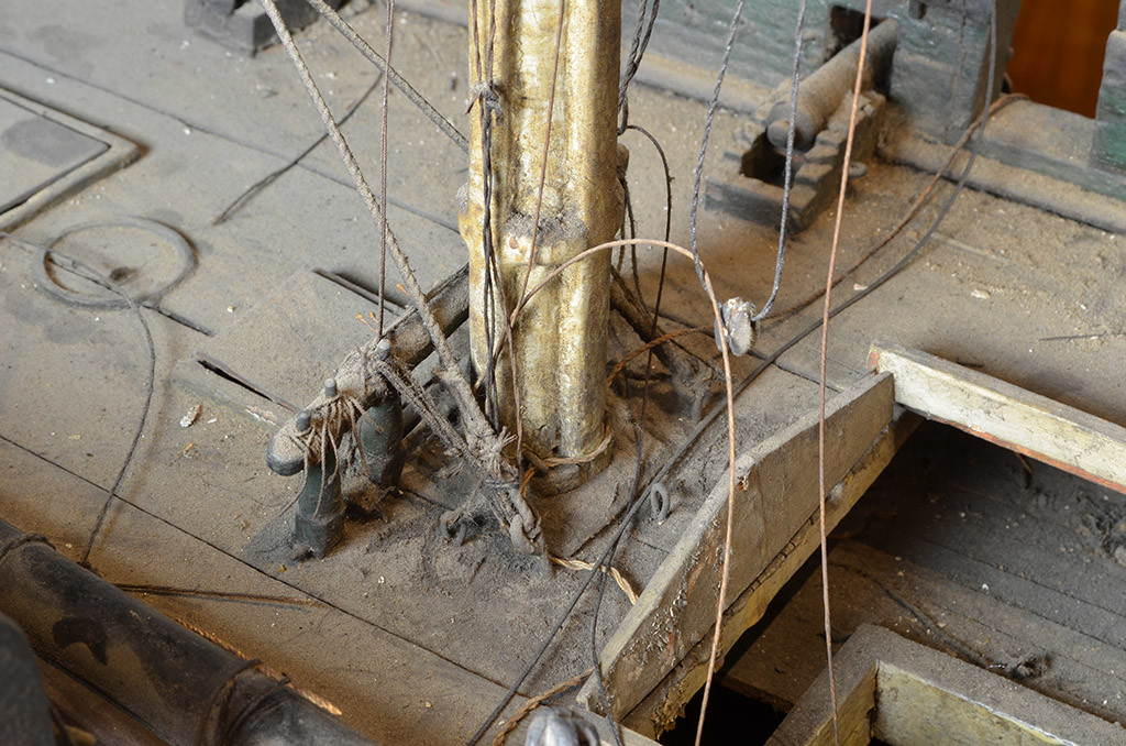 Dirt and grime on the model's spar deck. [Courtesy USS Constitution Museum. Photo by Rob Napier]