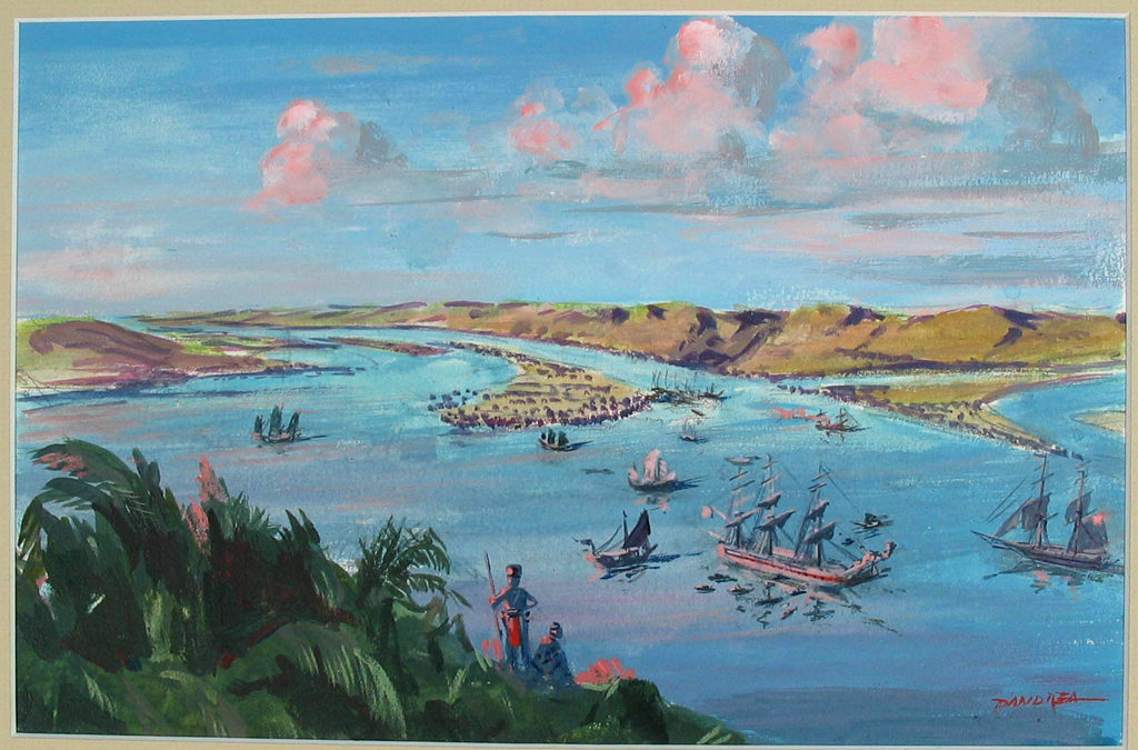 Brunei Harbor, by Cheslie D'Andrea, 1984. [USS Constitution Museum Collection.]