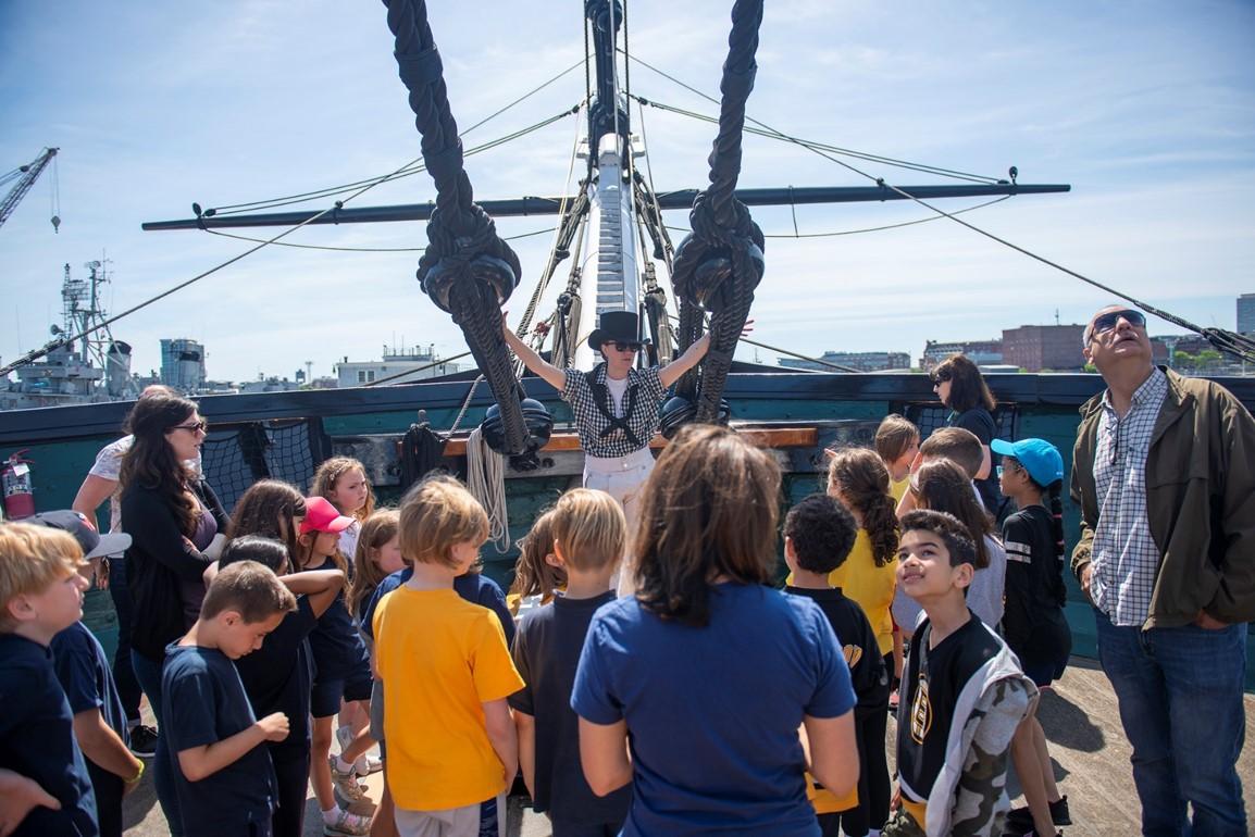 sailor and kids on ship